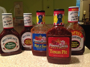 Our assortment of sauces. My favorite is Texas Pit, but everyone else in the house prefers one of the Sweet Baby Ray's.