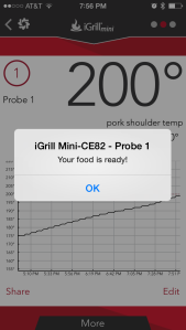 Would you look at that!!! It's finally Ready!! My iGrill Mini app on my phone beeps at me and alerts me that it is ready. Notice it's wasn't until around 8 PM. I had put the pork on around 10 AM. LOW AND SLOW!