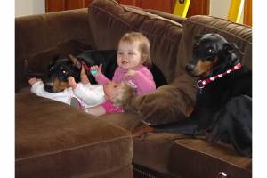 Zeppelin and Gretta with our oldest daughter