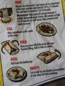 Wrap folding instructions on back of tortilla wrap package