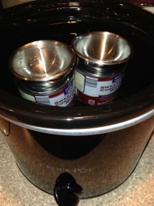 Submerge cans of sweetened condensed milk in water in a slow cooker on low for 8-10 hours.