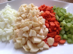 Veggies chopped up and ready to go
