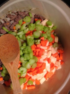 Adding in the veggies.