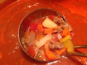 Veggies simmering until tender.