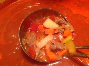 Veggies simmering until tender.