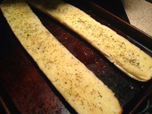 Garlic bread on the side.