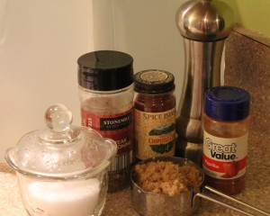 My spices of choice: Kosher Salt, Steak Seasoning, Ground Chipotle Chile, Ground Black pepper, Paprika, and Brown Sugar