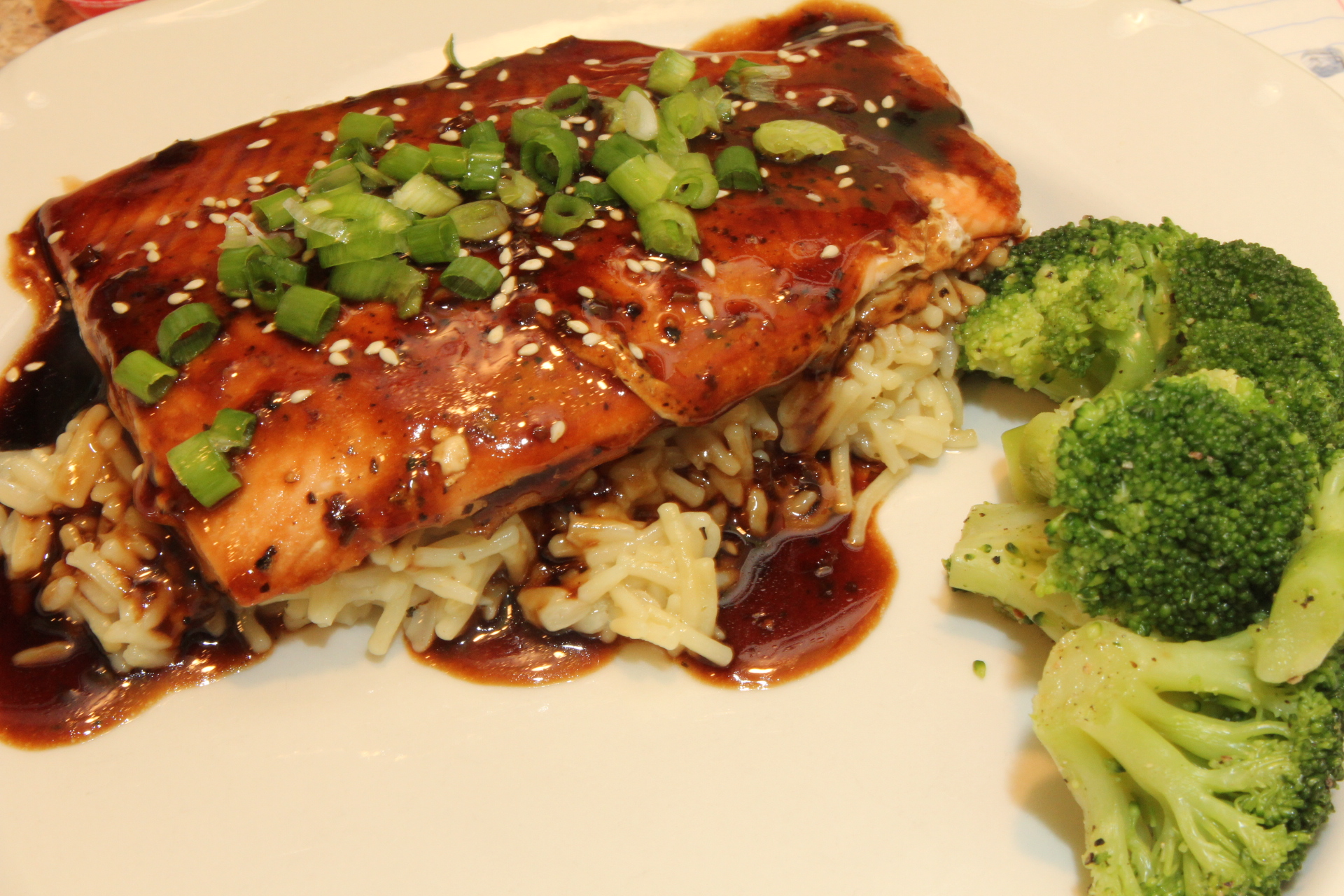 ... off with toasted sesame seeds and green onions Balsamic Glazed Salmon