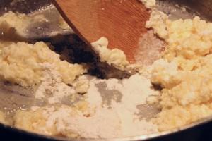 Adding in Flour to make roux