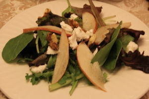 Pear, Walnut, and Goat Cheese Salad with a raspberry vinaigrette