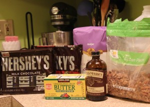 Ingredients: Sugar, Unsalted Butter, Vanilla, Pecans, and thin chocolate bars like Hershey's.