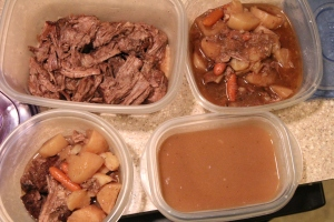 clockwise: The leftover meat that I'll use for another meal, leftover vegetables and sauce that I'll turn into vegetable beef soup, leftover gravy, and lunch for my husband to take to work.